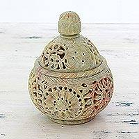 Soapstone decorative jar, 'Floral Cream' - Hand Crafted Indian Soapstone Jar and Lid with Floral Motifs