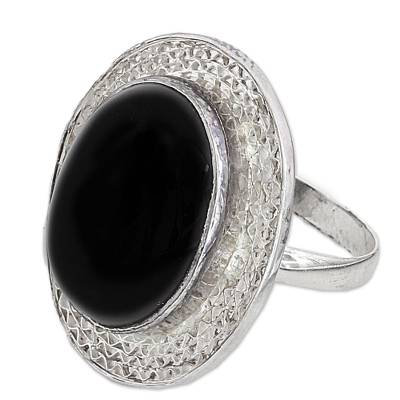 Sterling Silver and Onyx Cocktail Ring from India