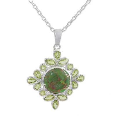 Peridot pendant necklace, 'Bright Fascination' - Handcrafted Green Turquoise and Peridot Pendant Necklace
