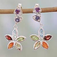 Multi-gemstone dangle earrings, 'Floral Hearts' - Multi Gemstone and Sterling Silver Floral Heart Earrings
