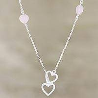 Rose onyx station necklace, 'Romantic Pink' - Rose Onyx and Sterling Silver Station Necklace with Hearts