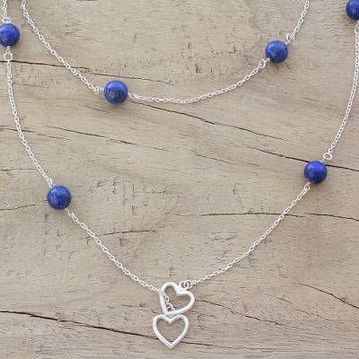 Lapis lazuli station necklace, 'Blue Planet Love' - Lapis Lazuli and Sterling Silver Long Necklace with Hearts