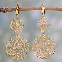 Gold plated sterling silver dangle earrings, 'Golden Wave' - 22k Gold Plated Sterling Silver Dangle Earrings from India