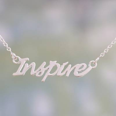 Sterling silver pendant necklace, 'Dare to Inspire' - Sterling Silver Pendant Necklace with Inspire Charm