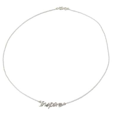 Sterling Silver Pendant Necklace with Inspire Charm