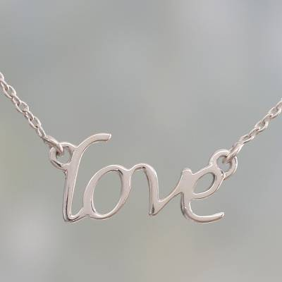 Sterling silver pendant necklace, 'Love Note' - Handcrafted Sterling Silver Love Theme Pendant Necklace