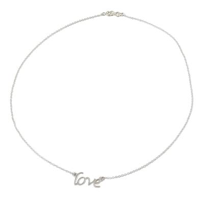 Handcrafted Sterling Silver Love Theme Pendant Necklace