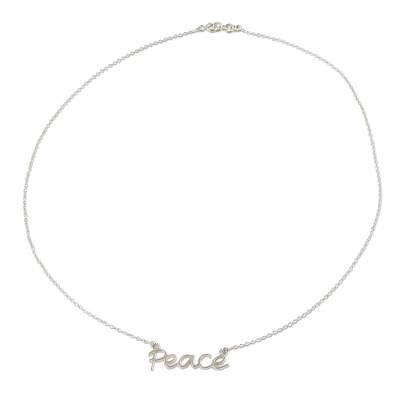 Peace Theme Sterling Silver Pendant Necklace from India