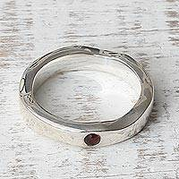 Garnet band ring, 'Curvy Sophistication in Red' - Sterling Silver and Garnet Band Ring from India
