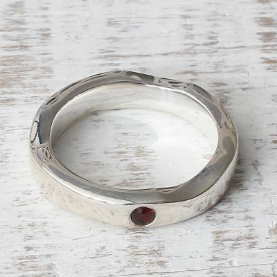 Sterling Silver and Garnet Band Ring from India