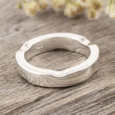 Sterling silver band ring, 'Curvy Sophistication' - Hand Made Sterling Silver Band Ring from India