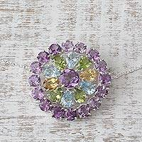 Multi-gemstone pendant necklace, 'Glamour Burst' - Sterling Silver Gemstone Pendant Necklace from India