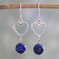 Lapis lazuli dangle earrings, 'Majestic Globes' - Handcrafted Lapis Lazuli and Sterling Silver Dangle Earrings
