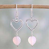 Onyx dangle earrings, 'Romance Hearts in Pink' - Sterling Silver Pink Onyx Heart Dangle Earrings from India
