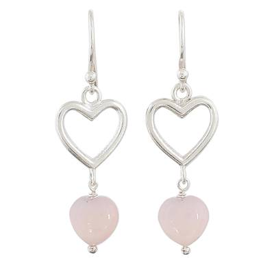 Sterling Silver Pink Onyx Heart Dangle Earrings from India
