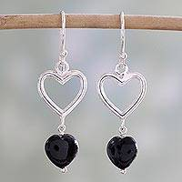 Onyx dangle earrings, 'Romance Hearts in Black' - Sterling Silver Black Onyx Heart Dangle Earrings from India