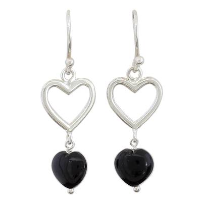 Sterling Silver Black Onyx Heart Dangle Earrings from India
