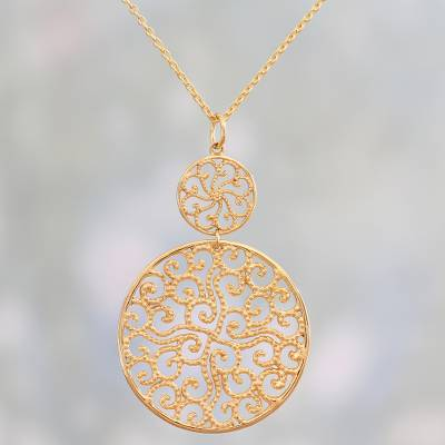 Gold plated pendant necklace, 'Golden Waves' - Gold Plated Sterling Silver Pendant Necklace from India