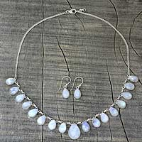 Rainbow moonstone jewelry set, 'Lovely Morning' - Rainbow Moonstone jewellery Set Necklace and Earrings India