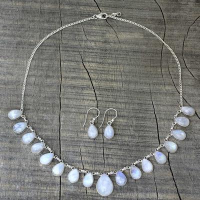 Rainbow moonstone jewelry set, 'Lovely Morning' - Rainbow Moonstone jewellery Set Necklace and Earrings India