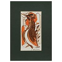 'Magical Evening' - India Tribal Art Style Original Painting of a Brown Bird