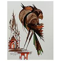 'Heavenly Abode' - Original Signed Indian Folk Art Painting of Birds
