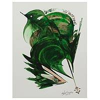 'Union of Life' - Emerald Green Nature Painting of a Bird and Mouse