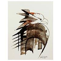 'The Fierce Hawk' - Original Signed Brown Hawk Painting from India