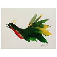 'Flying Bird' - Original Signed Bird Painting by an Indian Artist