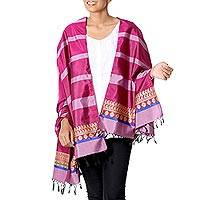 Silk shawl, 'Striped Shimmer in Magenta' - Striped Silk Shawl in Magenta and Lilac from India