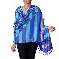 Silk shawl, 'Striped Shimmer in Lapis' - Striped Silk Shawl in Lapis and Caribbean Blue from India