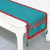 Silk table runner, 'Regal Holiday in Teal' - Jacquard Silk Table Runner in Teal and Crimson from India