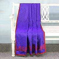 Silk throw, 'Paisley Allure in Purple' - Hand Woven Silk Throw in Purple and Crimson