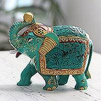 Wood figurine, 'Eucalyptus Elephant' - Green Lucky Elephant Figurine Artisan Crafted Sculpture