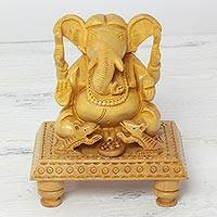 Wood sculpture, 'Ever-Loving Ganesha' - Natural Wood Sculpture of Hindu Ganesha from India
