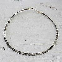 Braided sterling silver necklace, 'Interwoven Paths' - Braided Sterling Silver Necklace from India