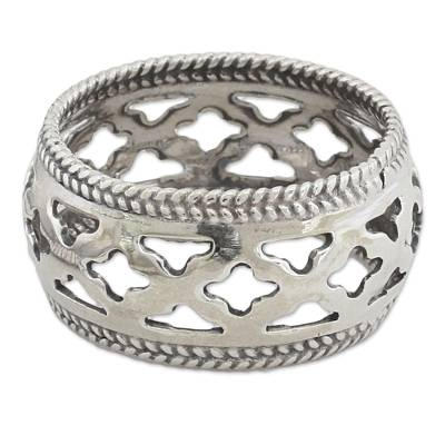 Artisan Crafted Sterling Silver Indian Jali Motif Band Ring