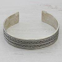 Sterling silver cuff bracelet, 'Twirling Fascination' - Hand Crafted Sterling Silver Cuff Bracelet with Rope Motifs
