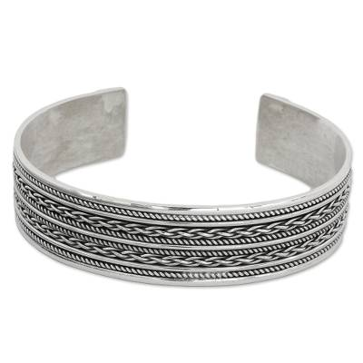 Hand Crafted Sterling Silver Cuff Bracelet with Rope Motifs