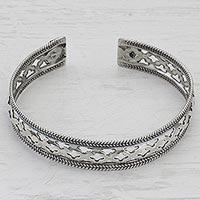 Sterling silver cuff bracelet, 'Jali Stars' - Artisan Crafted 925 Silver Indian Jali Motif Cuff Bracelet