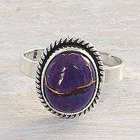 Sterling silver cocktail ring, 'Delightful Purple' - Purple Composite Turquoise and Sterling Silver Cocktail Ring