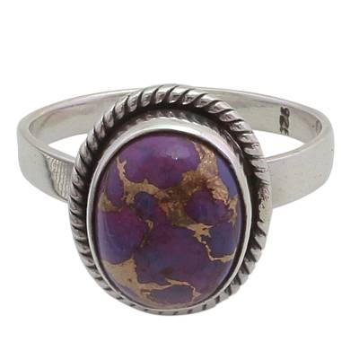 Handcrafted Purple Turquoise and Sterling Silver Cocktail Ring