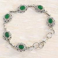 Quartz link bracelet, 'Royal Domes in Green' - Green Quartz and Sterling Silver Link Bracelet from India