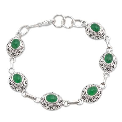 Green Quartz and Sterling Silver Link Bracelet from India