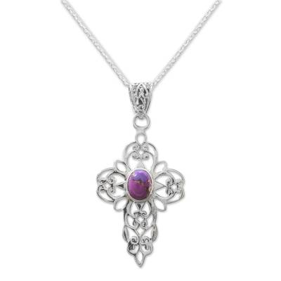Purple Composite Turquoise Sterling Silver Cross Necklace