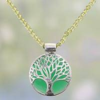 Onyx and peridot beaded pendant necklace, 'Green Tree of Life' - Peridot Beaded Onyx Tree Pendant Necklace from India