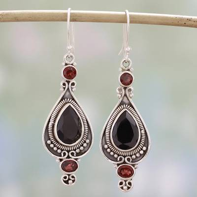 Onyx and garnet dangle earrings, 'Sparkling Midnight' - Black Onyx and Garnet Dangle Earrings from India