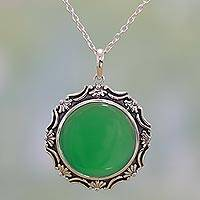 Onyx pendant necklace, 'Grassy Green' - Sterling Silver and Green Onyx Pendant Necklace from India
