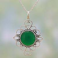 Onyx pendant necklace, 'Light of the Forest' - Modern Indian Sterling Silver and Green Onyx Necklace