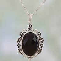 Onyx pendant necklace, 'Floral Midnight Allure' - Sterling Silver and Faceted Onyx Floral Necklace from India